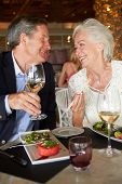 Senior Couple Enjoying Meal In Restaurant