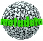 A ball or sphere of hash tags or number pound signs and the word Metadata to illustrate posts and da