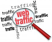 A magnifying glass hovering over several instances of the word traffic, symbolizing the search for w