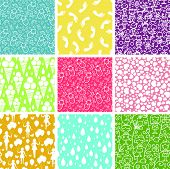 Set of nine kiddie things seamless patterns backgrounds