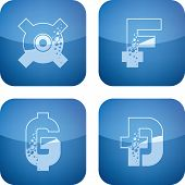 "picture of dong  - ""Bubbles-like"" currencies letter symbols. Pictured here left to right top to bottom: Generic currency symbol Swiss franc Paraguayan guarani Vietnamese dong. - JPG"