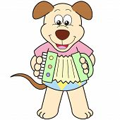 Cartoon Dog Playing An Accordion