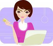 Lady genießt Online einkaufen