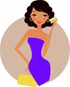 Illustration of fashion girl with card to shopping