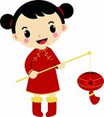 A chinese girl and her beautiful lantern