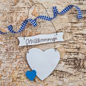 Heart With Welcome Written In German