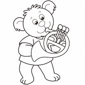 Cartoon Bear Playing A French Horn