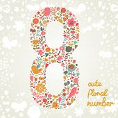 The number Eight. Bright floral element of colorful alphabet made from birds, flowers, petals, hearts and twigs. Summer floral ABC element in vector