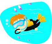 Vector illustration of a cute scuba diving kid