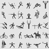 stock photo of archery  - Sport icons set - JPG