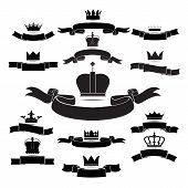 King And Queen Crown Silhouette Icon Set Isolated On White Background