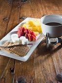 Chocolate fondue dessert tray for two