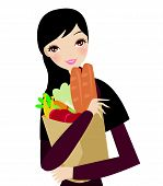 a girl with supermarket bag