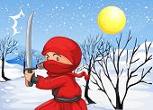 Illustration of a red ninja in the snow