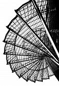 pic of spiral staircase  - Black and white image of a metal spiral staircase - JPG