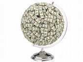 Globe of U.S. dollars isolated on a white background