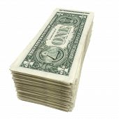 stack of American money isolated on white background