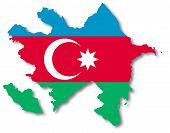 Map and flag of Azerbaijan