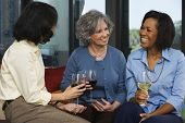 Middle aged and elderly women drinking wine