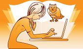 Girl With A Laptop And An Owl