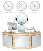 pic of receptionist  - Classic reception with 3 Clocks - JPG