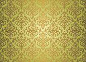Green  & Brown Vintage Wallpaper Design
