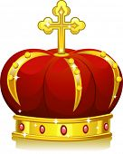 Illustration of a Shining Red and Gold Crown