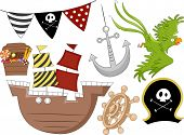 stock photo of plunder  - Illustration of Pirate Birthday Design Elements 2 - JPG