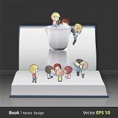 Kids Around Coffee Pot On Book. Vector Design.