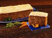 Carrot Cake Slice With Granite Background