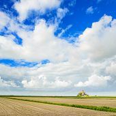 Mont Saint Michel Monastery Landmark And Field. Normandy, France poster