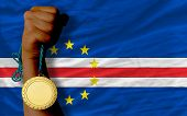 Gold Medal For Sport And  National Flag Of  Of Capeverde
