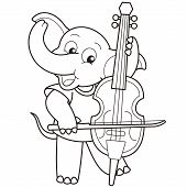 Cartoon Elephant Playing A Cello