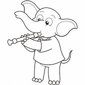 Cartoon Elephant Playing An Oboe