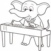 picture of organist  - Cartoon Elephant playing an electronic organ - JPG