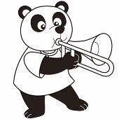 Cartoon Panda tocar um Trombone