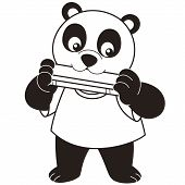 Cartoon Panda Mundharmonika spielt