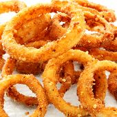 Onion rings in closeup.