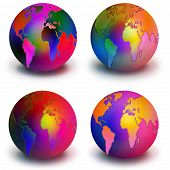 Four Colorful Globes