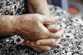 Hands Of The Old Woman. Senior's Hands..hands Of An 82-year-old Woman Resting On Lap