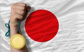 Gold Medal For Sport And  National Flag Of Japan