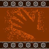 A Illustration Based On Aboriginal Style Of Dot Painting Depicting Hand