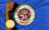 Gold Medal For Sport And  Flag Of American State Of Minnesota