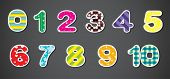 Illustration of the colorful numerical figures on a gray background
