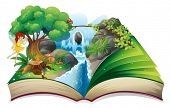 foto of waterfalls  - Illustration of an enchanted book on a white background - JPG