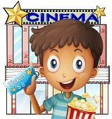 Illustration of a boy holding a pail of popcorn and a ticket outside the cinema on a white backgroun