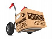 Refinancing - Cardboard Box on Hand Truck.