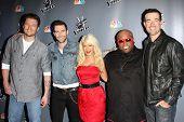 Blake Shelton, Adam Levine, Christina Aguilera, Cee Lo Green, Carson Daly at NBC's