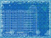 Grunge Blue Horizontal Architectural Background With Elements Of Plan And Facade Drawings. Eps10