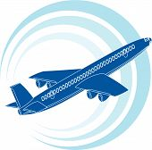 Airplane icon in blue color